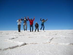 Group attempt at jumping on Salar de Uyuni