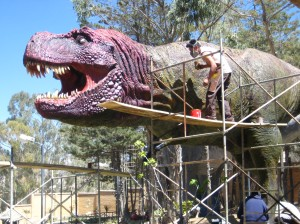 Apparently they've decided t-rexes were red...time to repaint!