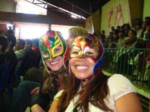 Yuen and I wearing our masks at Cholitas Wrestling