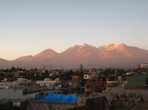 View of El Misti from my hostel roof