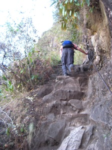 Climbing up Wayna Picchu