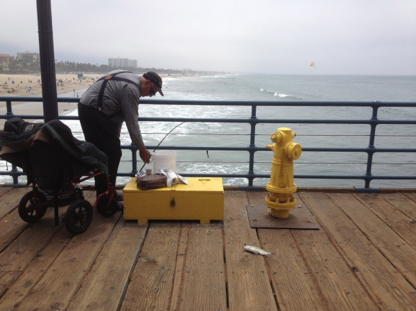 Fishing at Santa Monica Pier