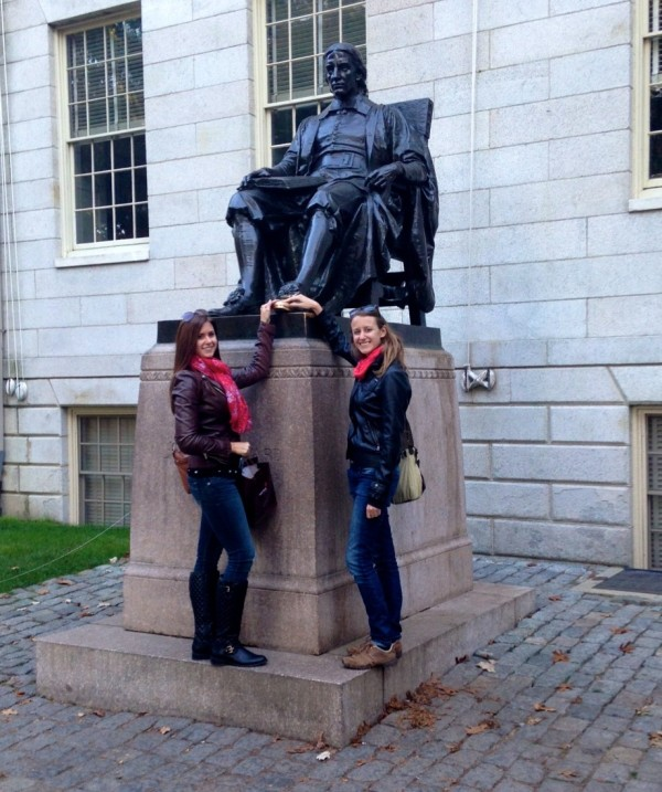 Rub John Harvard's foot for luck