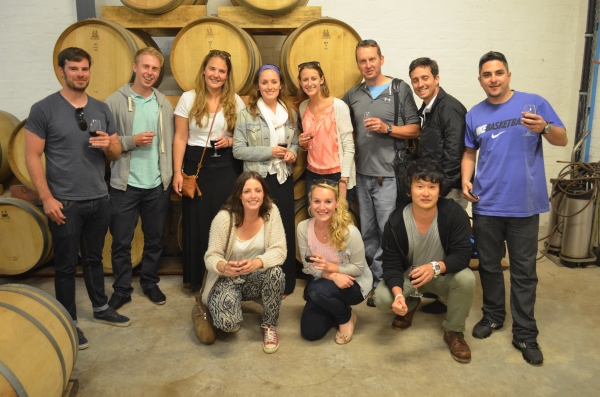 Wine Flies tour group at Middelvei Winery in Stellensbosch, South Africa